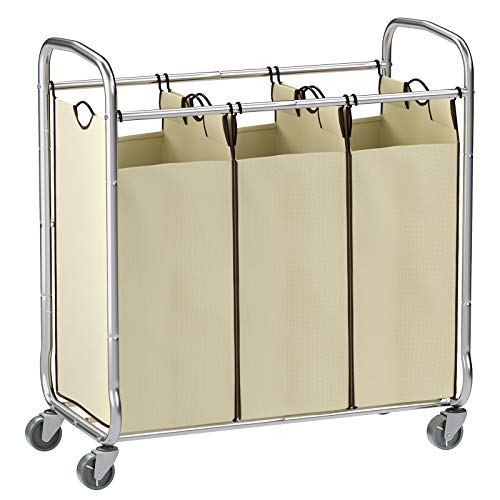 SONGMICS URLS72MZ 3-Bag Laundry Sorter Cart on Wheels, Three, Beige