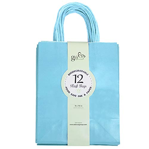 12CT Medium Light Blue Biodegradable, Food Safe Ink & Paper, Premium Quality Paper (Sturdy & Thicker), Kraft Bag with Colored Sturdy Handle