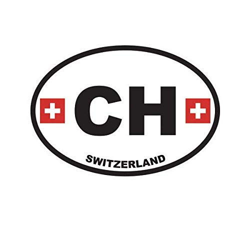 (ION Graphics Switzerland Oval Sticker Decal Vinyl Swiss Country Code Euro CH v1 5