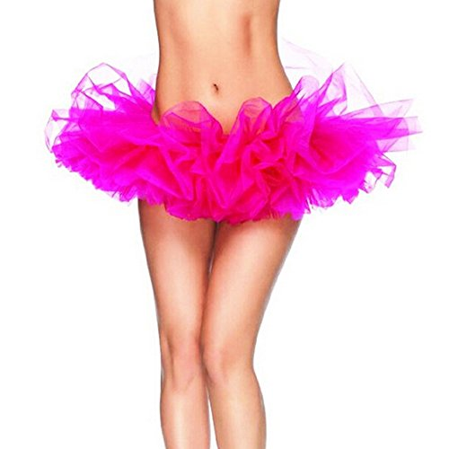 DELEY Adulte Femmes Danse Organza Tutu Dress Princess Party Mini-jupe Clubwear Rose Chaud