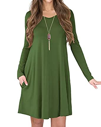 Jouica Women's Long Sleeves Swing Loose Comfy Flattering Dress (Army Green S)