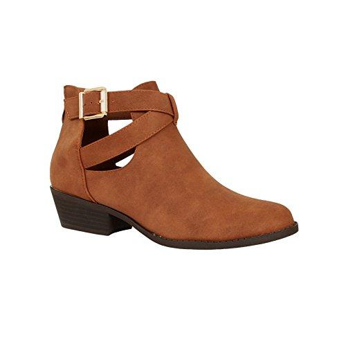 Guilty Schuhe Damen Blockabsatz Geschlossene Zehe - Riemchen Stiefeletten Tanv7 Pu