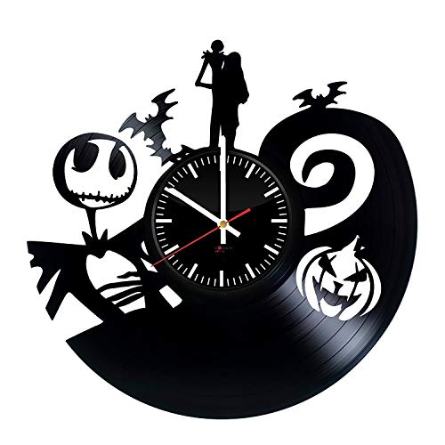 Nightmare before Christmas Film Handmade Vinyl Record Wall Clock - Get unique bedroom or kids room wall decor - Gift ideas for children, friends, sister - Animated Dark Film Unique Art Design ()