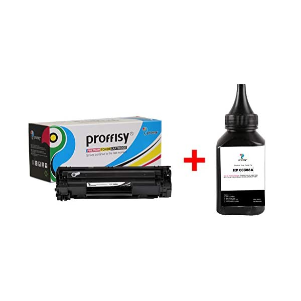proffisy Easy Refill 88A, CC388A Toner Cartridge for HP Laserjet P1007, P1106, P1108, P1008, M1213nf, M1136, M126nw, M128fn, M226DW (88A Easy Refill + 1 Bottle 88A Powder)