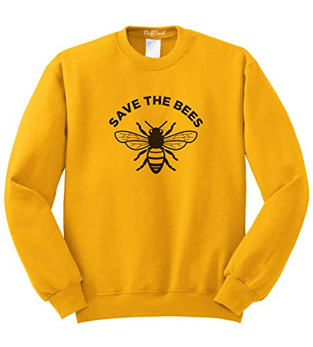 NuffSaid Save The Bees Crewneck Sweathisrt - Unisex Honey Bee Environment Crew (Small, Gold)