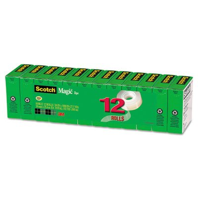 Magic Office Tape Refills, 3/4'' x 1000'' Roll, Clear, 12/Pack, Sold as 1 Package, 12 Roll per Package by Scotch (Image #3)