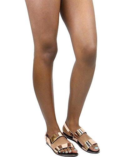 Sandali Da Donna Con Doppio Cinturino Metallico In Bambù - Oro Rosa Dorato