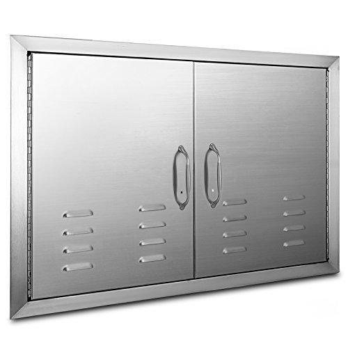 OrangeA BBQ Island Door 36 x 21 Beveled Frame Vented Double Access Door Stainless Stainless Steel for Outdoor Kitchen