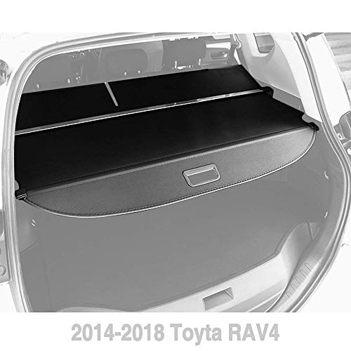 Yeeoy Cargo Cover Fits 2014-2018 Toyota RAV4 Black Retractable Trunk Shielding Shade ()