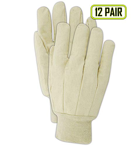MAGID T603 MultiMaster 10 oz. Ribbed Cotton Canvas Gloves, Mens, White (12 Pair)
