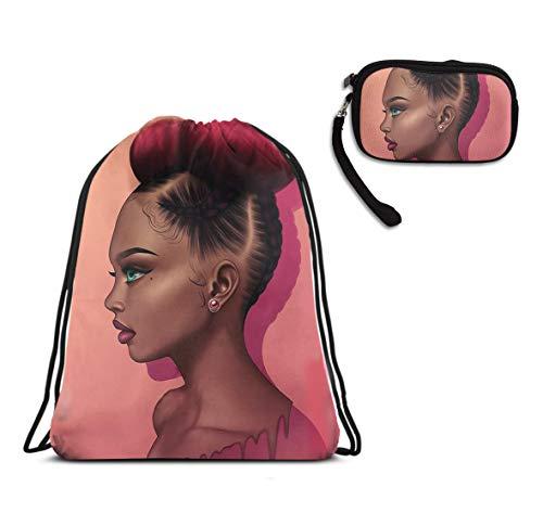 (MFMAKER 3D Print Gym Drawstring Backpack Rucksack Double Shoulder Bags Zipper Wallet 2 Pieces Set, Pink African American Black Cool Woman)