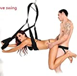 Adult šëx Swing with Adjustable Straps and Comfortable Seat for Couples Play, Black