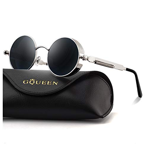 GQUEEN Retro Round Circle Steampunk Sunglasses Polarized Metal Alloy for Women Men MTS2