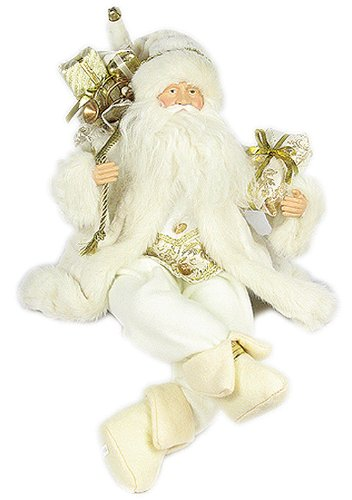 Christmas Tablescape Decor - Elegant Christmas Ivory and Gold Santa Claus Sitting with Bag of Gifts by Santa Claus