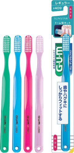 - Tooth Care G.U.M Tapered Tooth Brush Dome Regular Type #409 1pc - Four Line- Standard - Color Free (Harakjuku Culture Pack)