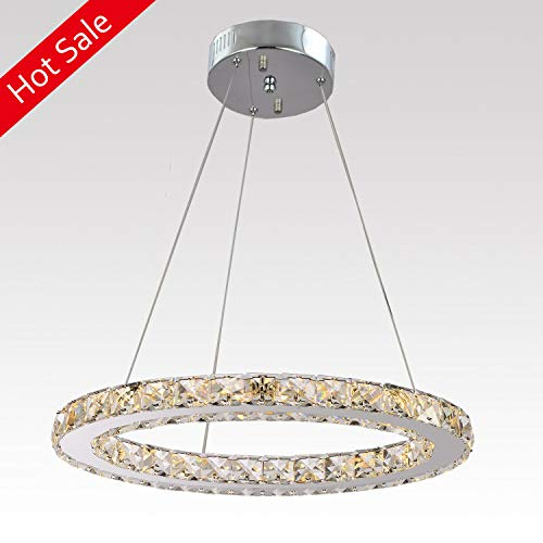 Ganeed Chandeliers,Crystal Glass Chandelier,Pendant Lighting Ceiling Lights Fixtures for Living Room Bedroom Restaurant Porch Dining Room,One Rings (Dia 11.8