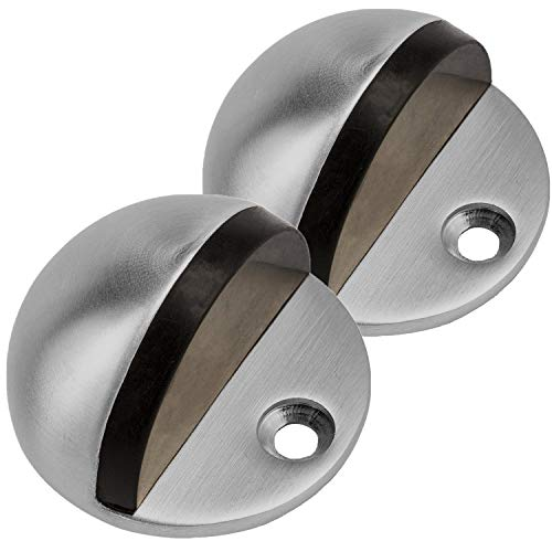 Gizhome 2 Pieces Round Door Stop, Heavy Duty Simple Doorstop Floor Mount, Solid Metal 304 Stainless Steel with Rubber Pad Cylindrical Ground Screw for Home Office Hotel Workstation, Brushed Silver