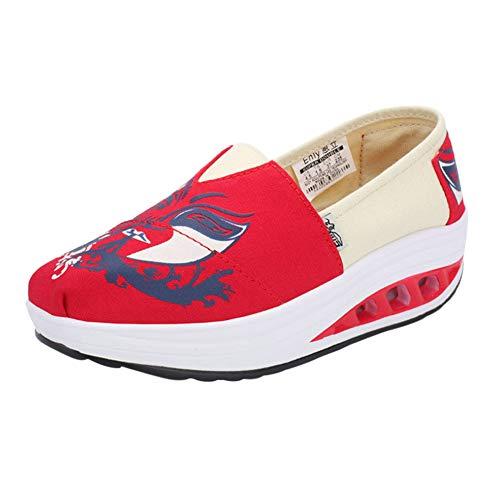 Comfort Zeppe Suola Camminare Sneakers Piattaforma Bilanciere Donne Tenthree Tela Casual Mocassini A Stampato Scarpe Da Rosso Ragazze Ginnastica xXqOYv6O