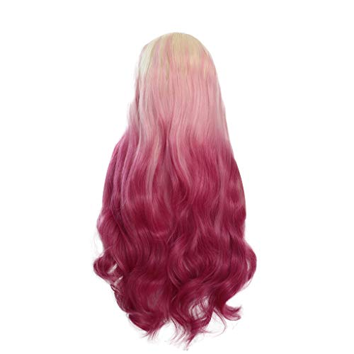 Weiweidian Natural Curly Lace Front Synthetic Wig Women Mix Colors Pink Long Straight -