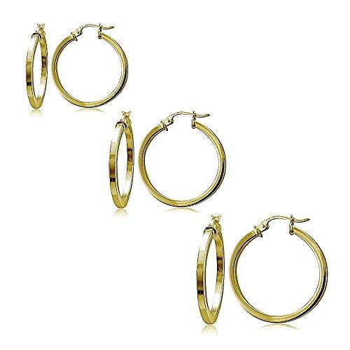 Hoops & Loops Set of 3 Flash Gold Tone over Sterling Silver 2mm Polished Square Hoop Earrings, 25mm, 30mm, (3mm Hammered Hoop Earrings)