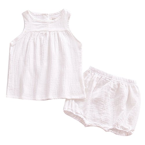 - LOOLY Baby Outfits Unisex Girls Boys Cotton Lien Blend Tank Tops and Bloomers White 100