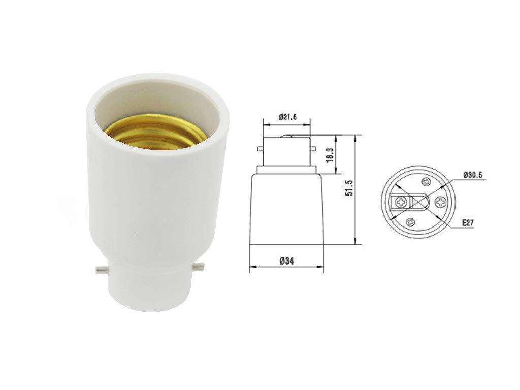Light Bulb Adapter B22 to E27 2-Pack Lamp Socket Converter Energy Saving Fitting 220-240V