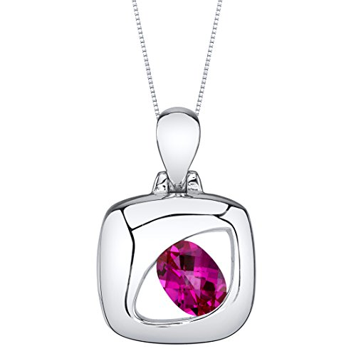 Sterling Silver Sculpted Pendant Necklace available in various colored stones