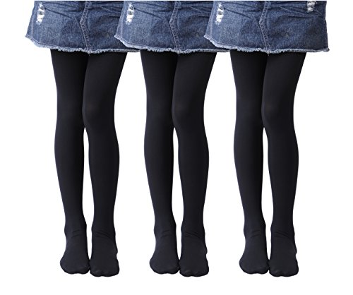 Girls Tights, Semi Opaque Footed Tights, Microfiber Comfortable Tights, Dance Tights (8-10, Black(Pack of 3))