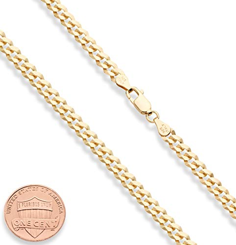 MiaBella Solid 18K Gold Over Sterling Silver Italian 5mm Diamond-Cut Cuban Link Curb Chain Necklace for Women Men, 16, 18, 20, 22, 24, 26, 30 Inch 925 Sterling Silver Made in Italy