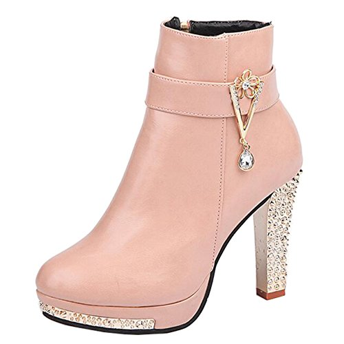 Mashiaoyi Binying Women's Round-Toe Diamond Platform Block Heel Zip Ankle Boots Pink aBXTHIwvp