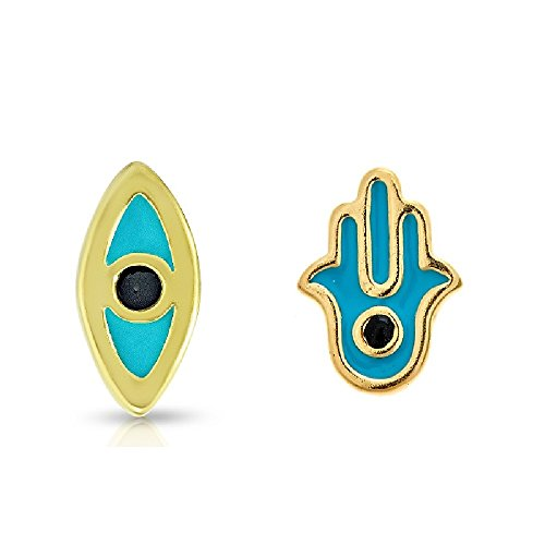(Pori Jewelers Gold Plated Sterling Silver Blue Evil Eye & Hamsa Mix & Match Tiny Stud Earrings - Made In Italy)