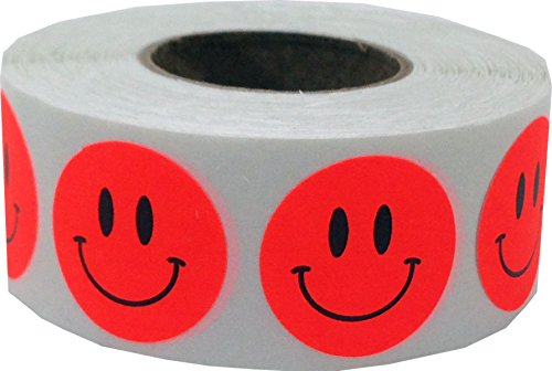 Fluorescent Red Smiley Face Circle Dot Stickers, 3/4 Inch Round, 500 Labels on a Roll (Fluorescent Red Label)