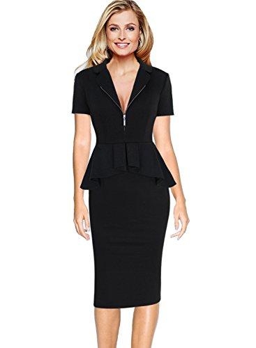 Ruffle Front Sheath Dress (VFSHOW Womens Elegant Zipper Front Ruffle Peplum Wear to Work Sheath Dress 011 BLK 3XL)