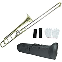 Flanger F-860 Intermediate B Flat Tenor Slide Trombone with F Trigger Case, Mouthpiece, Gloves & Cleaning Cloth