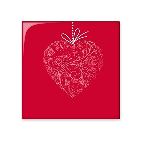 Valentine's Day Red White Heart Shaped Flowers Vines Illustration Pattern Ceramic Bisque Tiles for Decorating Bathroom Decor Kitchen Ceramic Tiles Wall Tiles high-quality
