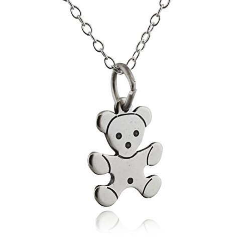 (FashionJunkie4Life Sterling Silver Small Teddy Bear Charm Necklace, 18