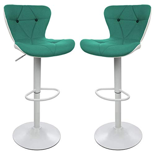 Halter-Adjustable-Height-Stool-Chairs-Counter-Height-Swivel-Bar-Stools-Modern-Upholstered-with-Diamond-Stitch-Chair-Stools-for-Bar-or-Kitchen-Counter-Barstools-Set-of-2-Green-and-White