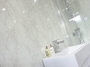 10 White Marble Marble PVC Bathroom Cladding Shower Wall ...