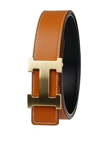 FY Men Reversible Leather Belt 34 inch Brown&gold