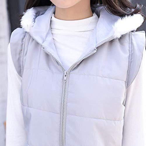 Doudoune Gilet Sans Femmes Manches Confortable Zipper Marque Survêtement Mode Mode Veste Hiver Grau Capuche Couleurs Chaude Sans À Manches Unies Cq1Yqtw