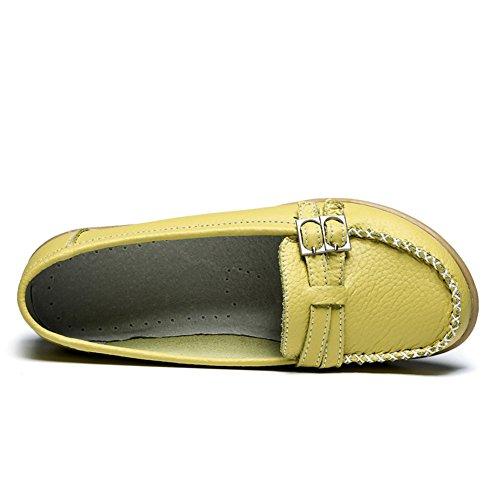 LINGTOM Damen Casual Leder Loafers Driving Mokassins Wohnungen Schuhe Gelbgrün