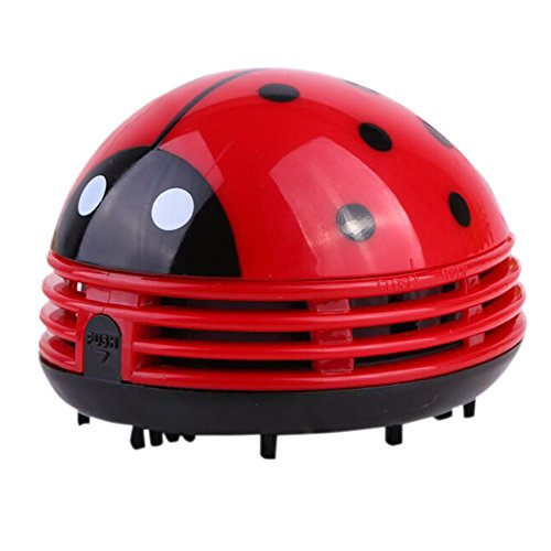 STARmoon Mini Ladybug Desktop Coffee Table Vacuum Cleaner Dust Collector for Home Office (Red)