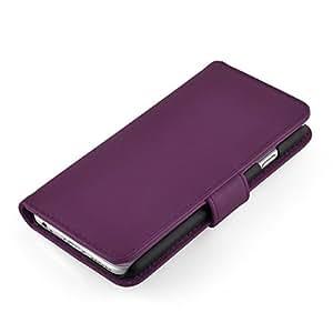 Iphone 5 5S casos protectores de cuero de la carpeta del tirón de la cubierta del caso para el iPhone 5 5S, púrpura