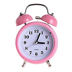 DONEE Alarm Clock for Kids, 3 Twin Bell Silent Non Ticking Bedside Desk Analog Travel Clocks, Movement Cute Loud Alarm With Nightlight for Girl Boy Bedroom (Pink)