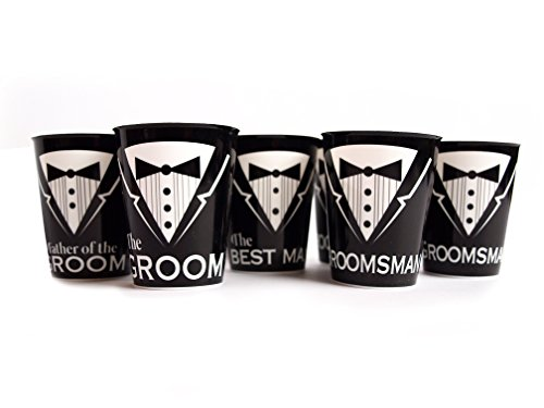 Bachelor Party Supplies Groom Best Man Groomsmen Father of the Groom- 6 Shot glasses by Express Novelties Online