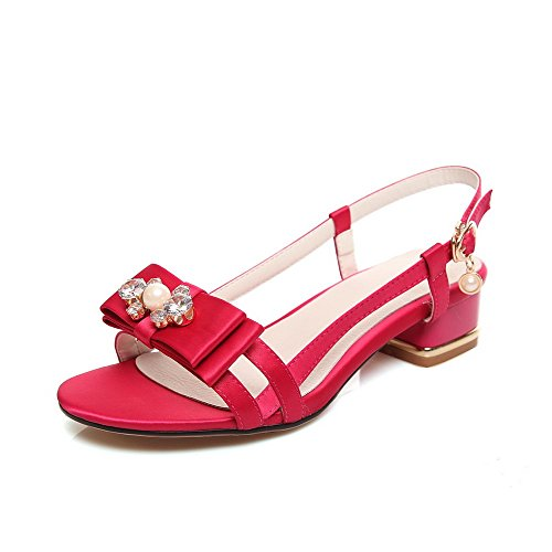 AgooLar Women's Open Toe Buckle Blend Materials Solid Low Heels Sandals RoseRed