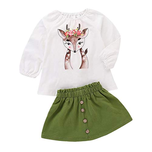 2018 Fashion Toddler Baby Girl Cartoon Deer Print Long Sleeve Tops +Skirt Outfits Autumn Clothes Set (White, 18-24M)