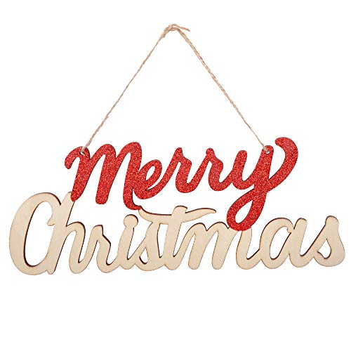 Merry Sign - eZAKKA Merry Christmas Sign Wooden Door