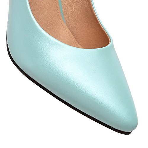 AdeeSu Ladies Bows Solid High-Heels Synthetic-And-Leather Pumps Shoes Blue YfyJS4K04d