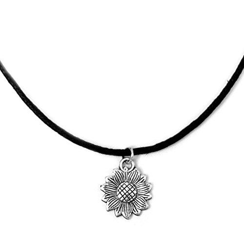 Single Strand Sunflower Charm Choker Necklace